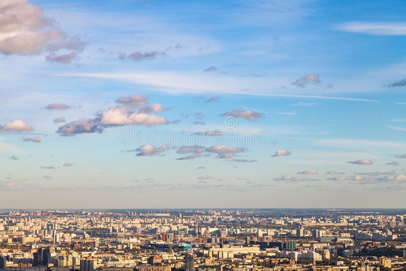 Blue sunset sky over east of Moscow city stock image