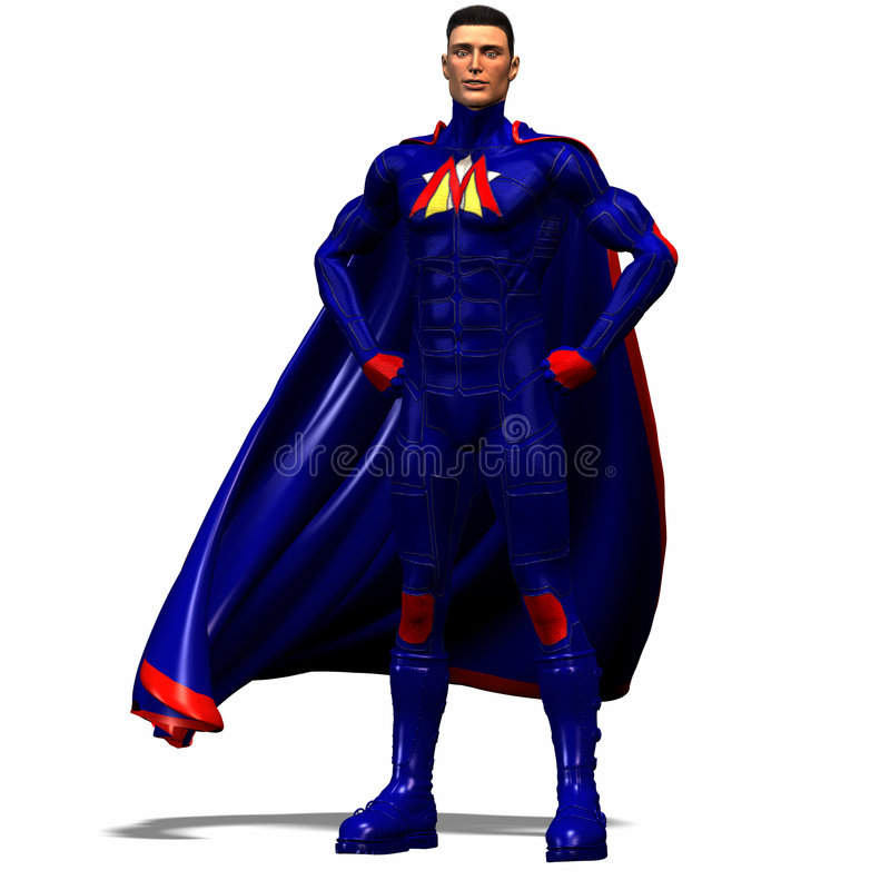 Blue super hero #2 royalty free stock photo