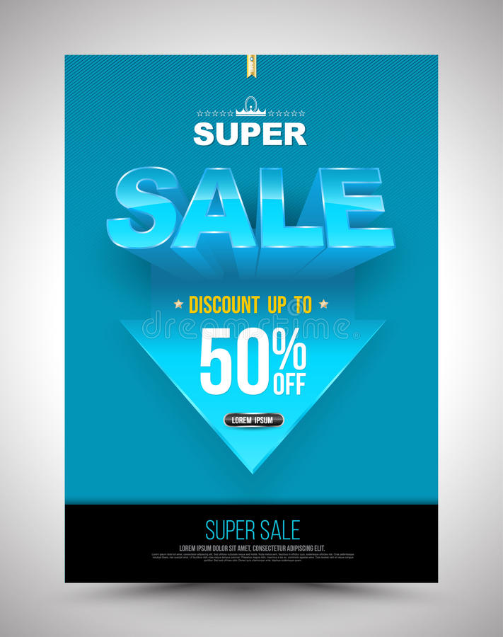 Blue super sale poster discount up to 50 percent with arrow. vector illustration