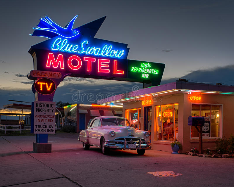 Blue Swallow Motel. On historic Route 66 in Tucumcari, New Mexico stock images