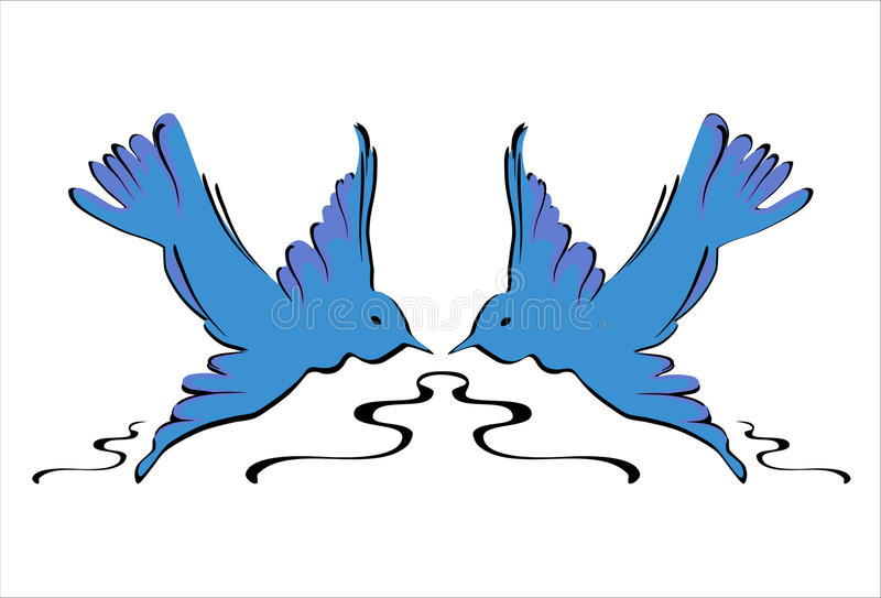 Blue Swallows - Vector. Symmetric flying blue swallows birds stock illustration