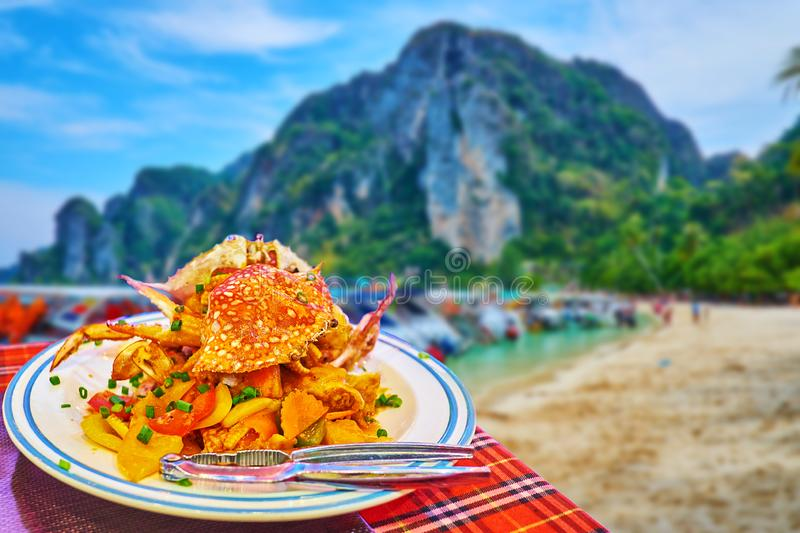 Blue swimmer crabs with vegetables, Phi Phi Don Island, Krabi, Thailand stock image