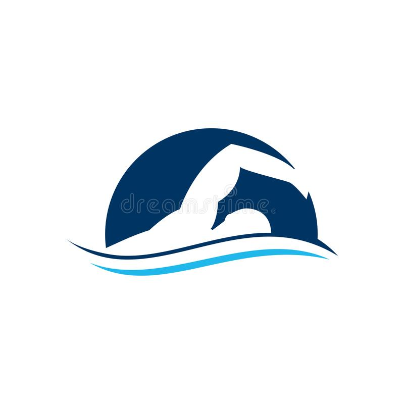 Blue swimming logo with abstract man silhouette. Swimming Club Logo Design. Swimmer icon design. Creative Swimmer Vector. Swimmer logo template. Swimming royalty free illustration