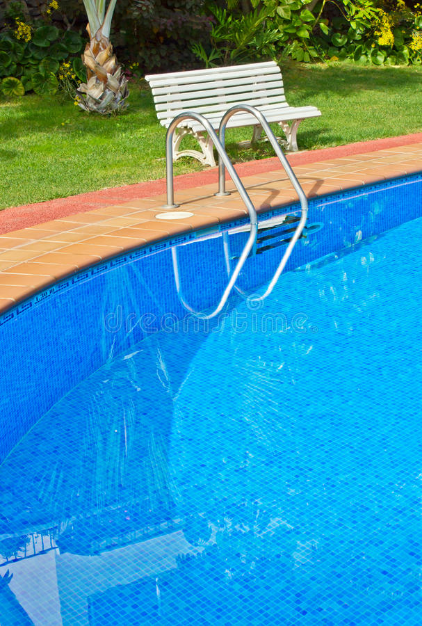 Blue swimming pool close up royalty free stock photography