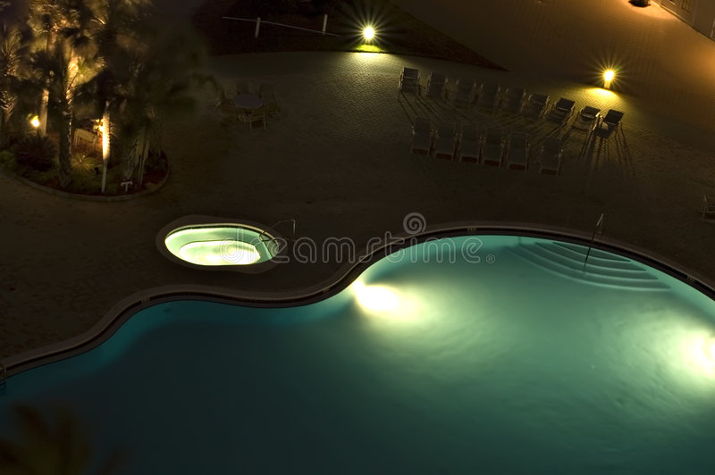 Download Blue Swimming Pool With Lights Stock Image - Image: 1646883