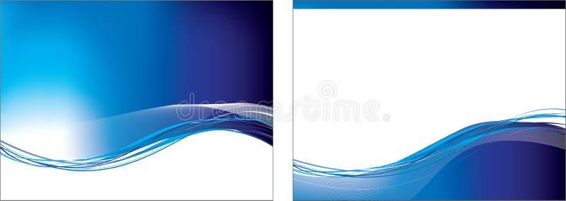 Blue swoosh set of 2 backgrounds vector illustration