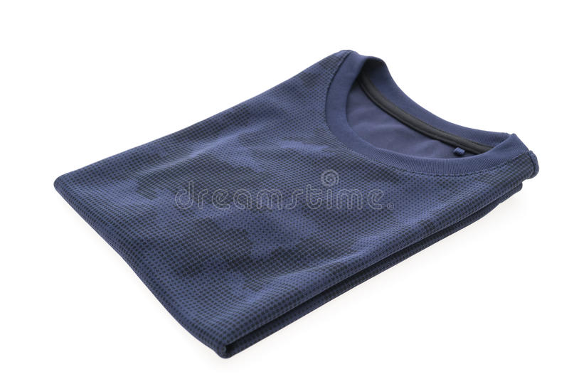 Blue T shirt for clothing. Isolated on white background stock images