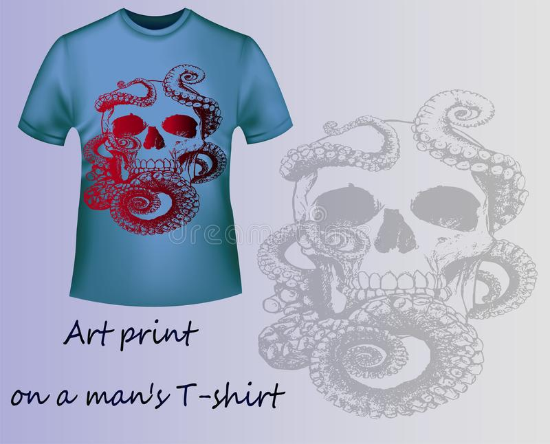 Blue T-shirt with print skull and tentacles vector illustration