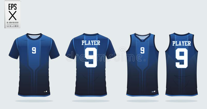 Blue t-shirt sport design template for soccer jersey, football kit and tank top for basketball jersey. Sport uniform. Blue t-shirt sport design template for royalty free illustration