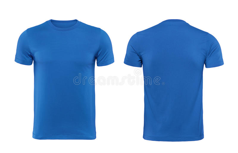 Blue T-shirts front and back used as design template. stock photos