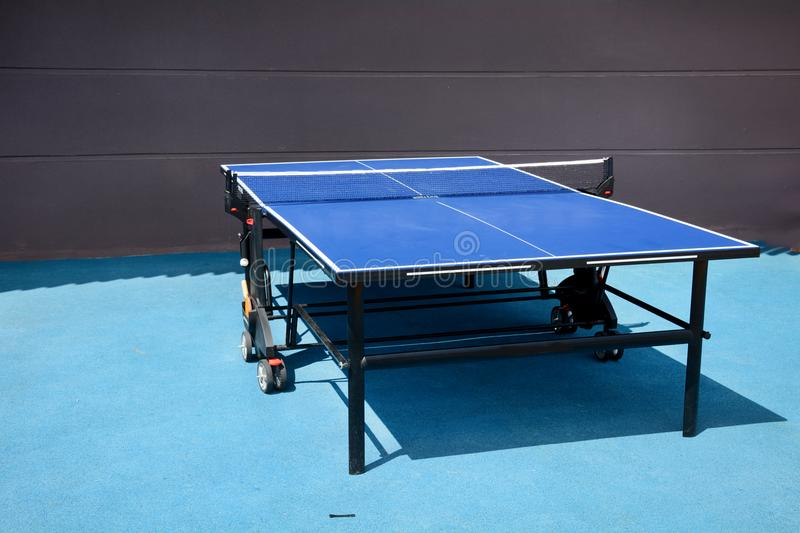 Blue Table tennis stock photo