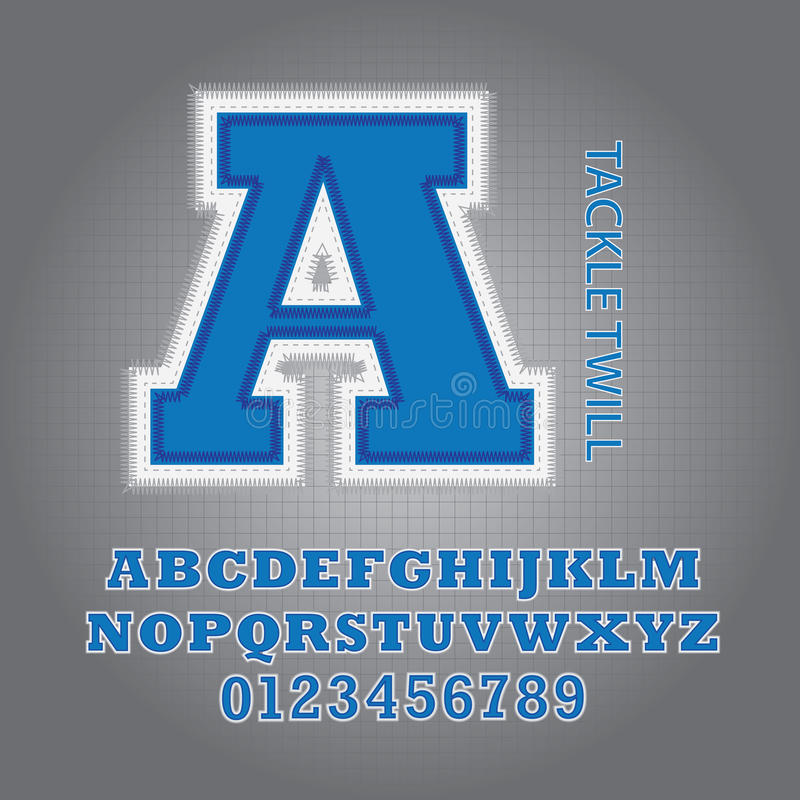 Blue Tackle Twill Alphabet and Numbers Vector royalty free illustration