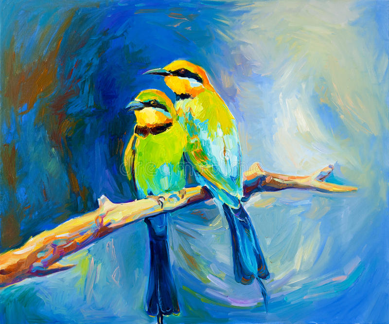 Blue tailed bee eaters. Original oil painting of blue tailed bee eaters, song birds on canvas.Modern impressionism royalty free illustration
