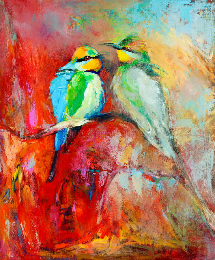 Blue tailed bee eaters. Original oil painting of blue tailed bee eaters, song birds on canvas.Modern impressionism vector illustration
