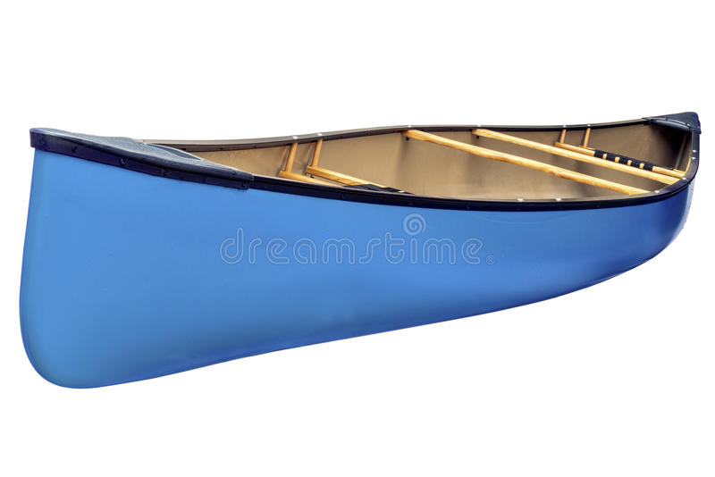 Blue tandem canoe isolated stock image