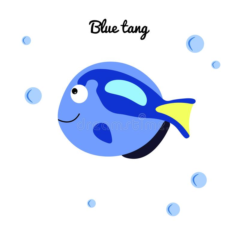 Blue tang Cartoon fish with water bubbles. character smiling happily of sea animal Print for clothes, baby shower decoration. Vector illustration marine stock illustration