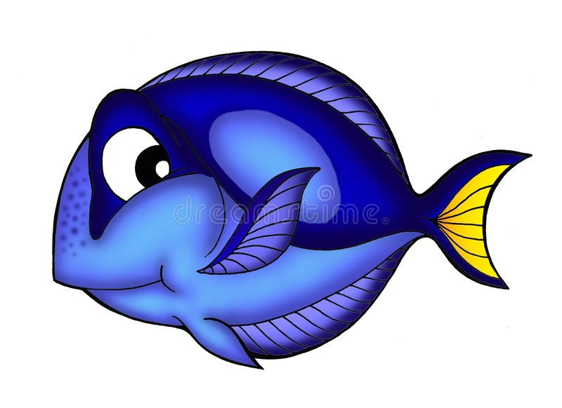Blue Tang fish. Color illustration of Blue Tang fish stock illustration