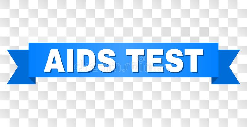 Blue Tape with AIDS TEST Title. AIDS TEST text on a ribbon. Designed with white caption and blue tape. Vector banner with AIDS TEST tag on a transparent stock illustration