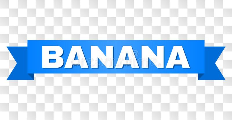 Blue Tape with BANANA Title. BANANA text on a ribbon. Designed with white caption and blue tape. Vector banner with BANANA tag on a transparent background royalty free illustration