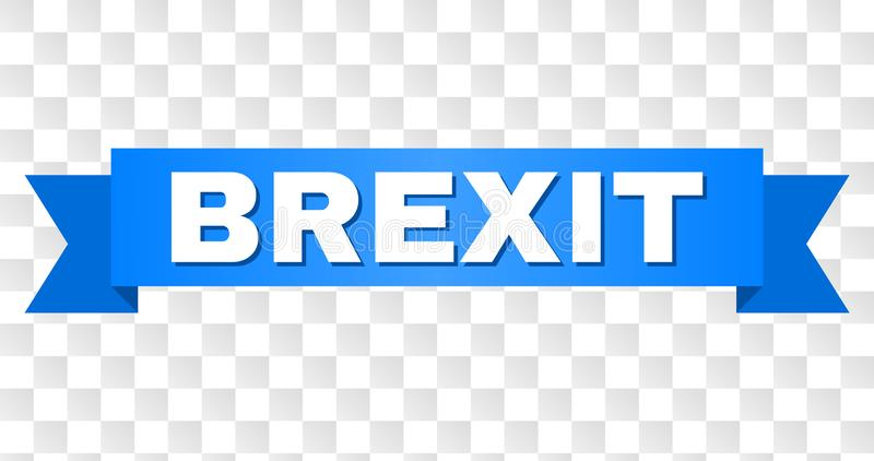 Blue Tape with BREXIT Title. BREXIT text on a ribbon. Designed with white caption and blue stripe. Vector banner with BREXIT tag on a transparent background royalty free illustration