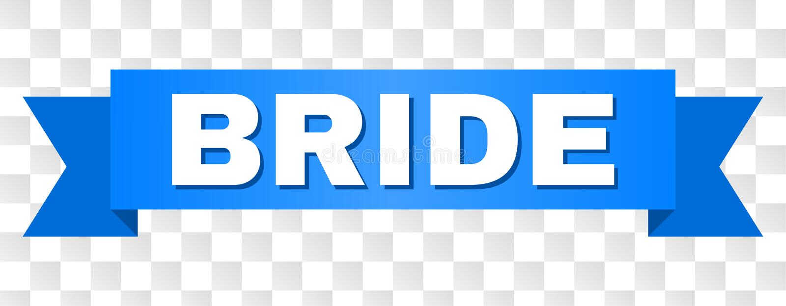 Blue Tape with BRIDE Title. BRIDE text on a ribbon. Designed with white caption and blue tape. Vector banner with BRIDE tag on a transparent background royalty free illustration
