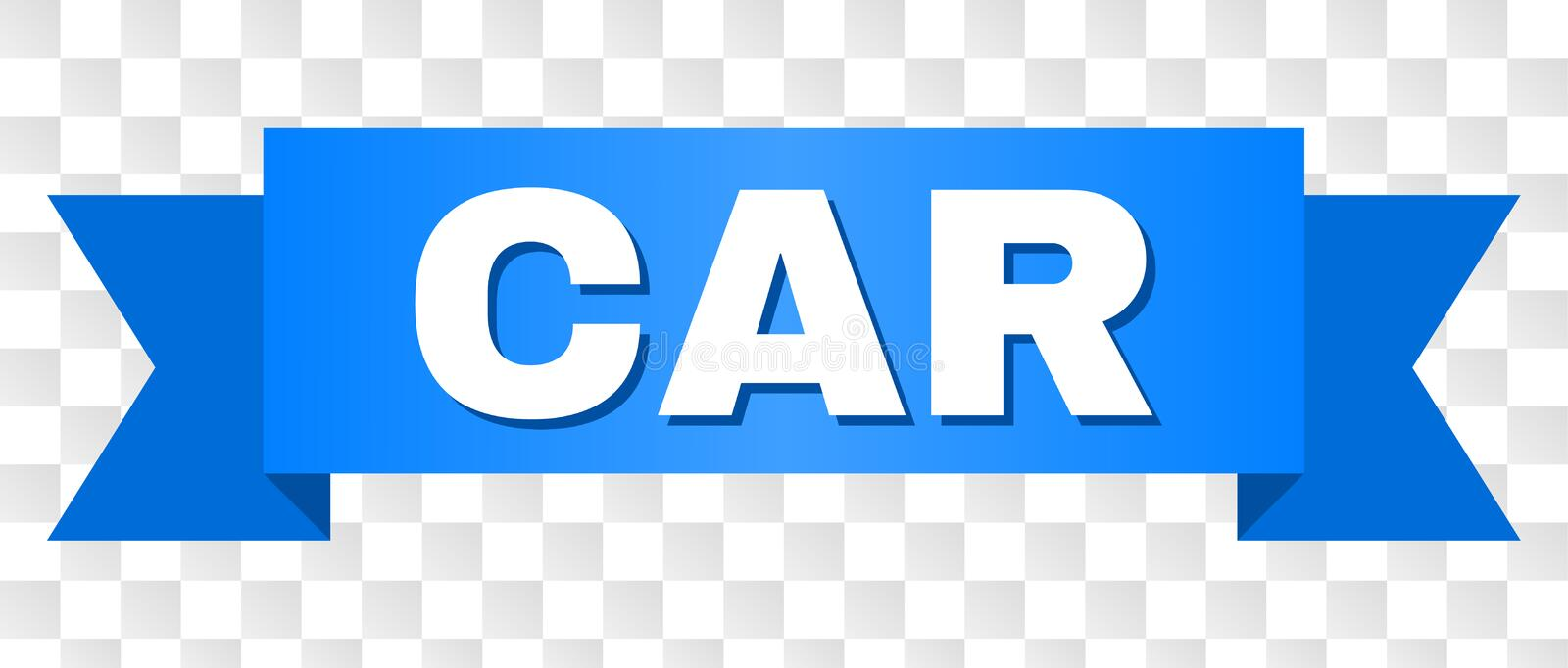 Blue Tape with CAR Title. CAR text on a ribbon. Designed with white caption and blue tape. Vector banner with CAR tag on a transparent background vector illustration