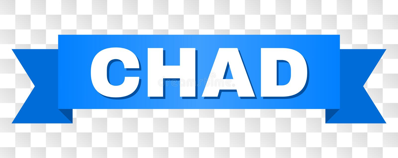 Blue Tape with CHAD Text. CHAD text on a ribbon. Designed with white caption and blue stripe. Vector banner with CHAD tag on a transparent background stock illustration
