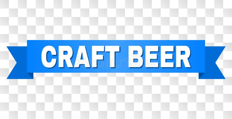 Blue Tape with CRAFT BEER Caption. CRAFT BEER text on a ribbon. Designed with white caption and blue tape. Vector banner with CRAFT BEER tag on a transparent stock illustration
