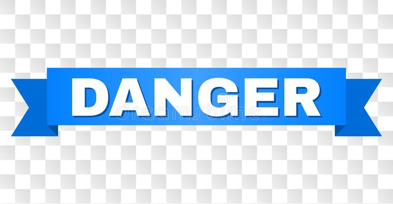 Blue Tape with DANGER Caption. DANGER text on a ribbon. Designed with white caption and blue tape. Vector banner with DANGER tag on a transparent background royalty free illustration