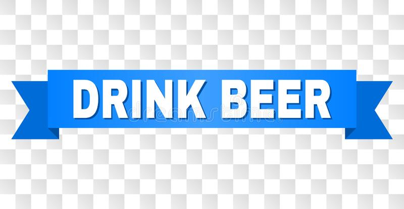 Blue Tape with DRINK BEER Caption. DRINK BEER text on a ribbon. Designed with white caption and blue stripe. Vector banner with DRINK BEER tag on a transparent vector illustration