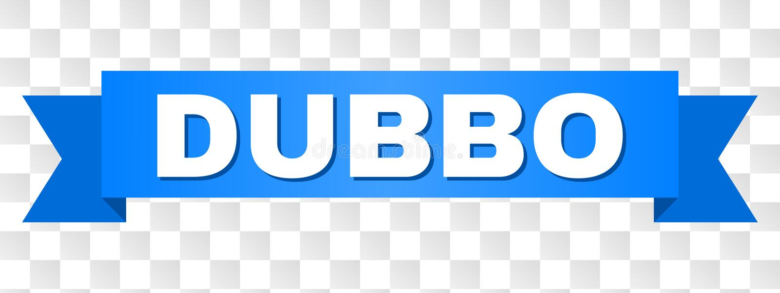 Blue Tape with DUBBO Title. DUBBO text on a ribbon. Designed with white caption and blue stripe. Vector banner with DUBBO tag on a transparent background vector illustration