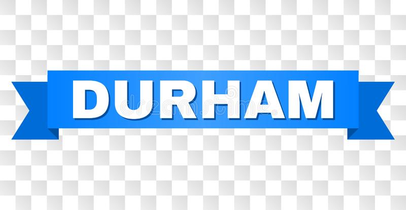 Blue Tape with DURHAM Text. DURHAM text on a ribbon. Designed with white caption and blue tape. Vector banner with DURHAM tag on a transparent background stock illustration