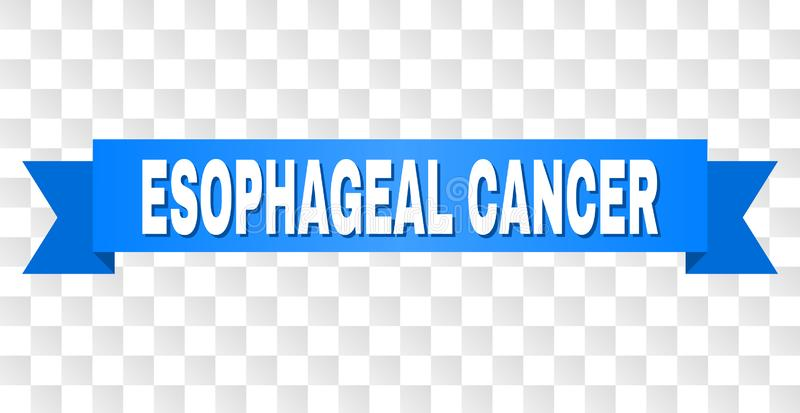 Blue Tape with ESOPHAGEAL CANCER Caption. ESOPHAGEAL CANCER text on a ribbon. Designed with white caption and blue tape. Vector banner with ESOPHAGEAL CANCER tag stock illustration
