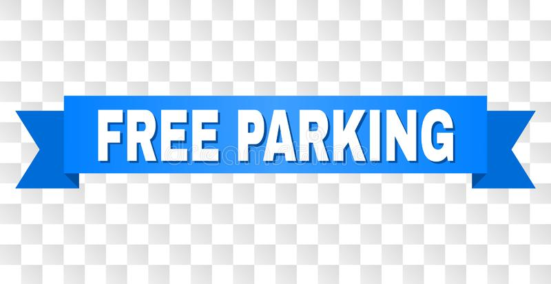 Blue Tape with FREE PARKING Caption. FREE PARKING text on a ribbon. Designed with white caption and blue tape. Vector banner with FREE PARKING tag on a stock illustration