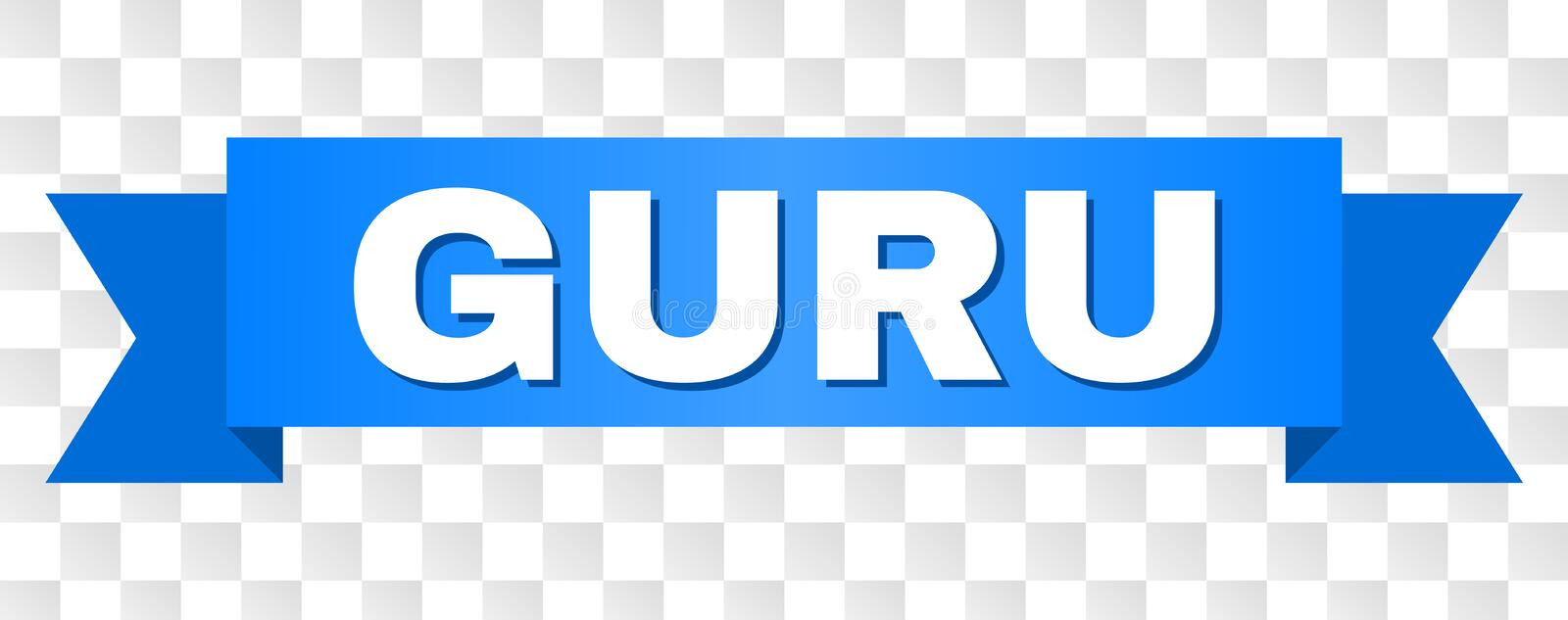 Blue Tape with GURU Title. GURU text on a ribbon. Designed with white caption and blue stripe. Vector banner with GURU tag on a transparent background vector illustration