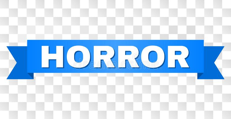 Blue Tape with HORROR Title. HORROR text on a ribbon. Designed with white caption and blue stripe. Vector banner with HORROR tag on a transparent background royalty free illustration