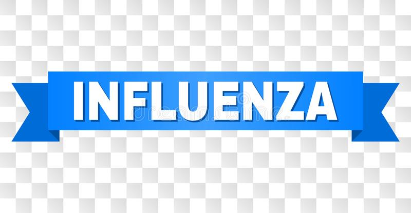 Blue Tape with INFLUENZA Caption. INFLUENZA text on a ribbon. Designed with white caption and blue tape. Vector banner with INFLUENZA tag on a transparent vector illustration