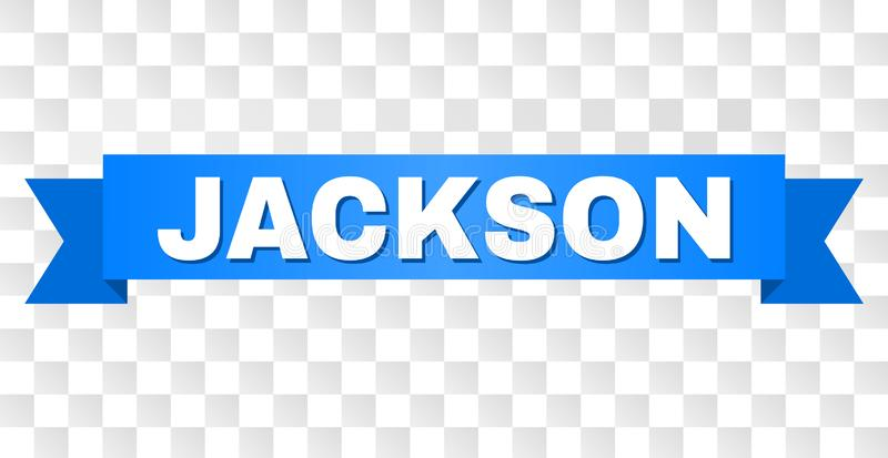 Blue Tape with JACKSON Title. JACKSON text on a ribbon. Designed with white caption and blue stripe. Vector banner with JACKSON tag on a transparent background royalty free illustration