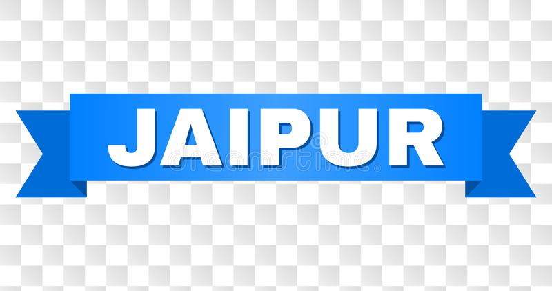 Blue Tape with JAIPUR Text. JAIPUR text on a ribbon. Designed with white caption and blue stripe. Vector banner with JAIPUR tag on a transparent background royalty free illustration
