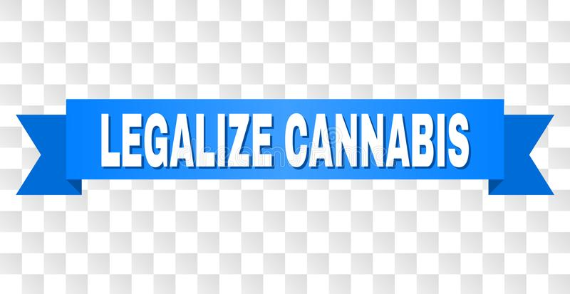 Blue Tape with LEGALIZE CANNABIS Caption. LEGALIZE CANNABIS text on a ribbon. Designed with white caption and blue tape. Vector banner with LEGALIZE CANNABIS tag vector illustration