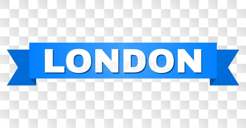 Blue Tape with LONDON Title. LONDON text on a ribbon. Designed with white caption and blue stripe. Vector banner with LONDON tag on a transparent background stock illustration