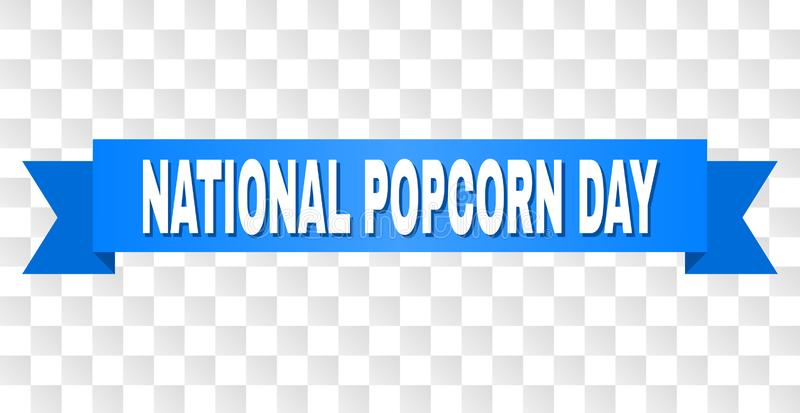 Blue Tape with NATIONAL POPCORN DAY Caption. NATIONAL POPCORN DAY text on a ribbon. Designed with white caption and blue tape. Vector banner with NATIONAL vector illustration