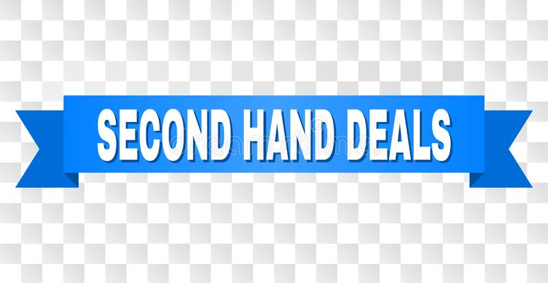 Blue Tape with SECOND HAND DEALS Caption. SECOND HAND DEALS text on a ribbon. Designed with white caption and blue tape. Vector banner with SECOND HAND DEALS tag stock illustration