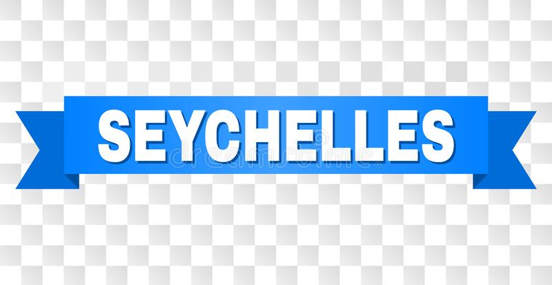 Blue Tape with SEYCHELLES Caption. SEYCHELLES text on a ribbon. Designed with white caption and blue stripe. Vector banner with SEYCHELLES tag on a transparent stock illustration
