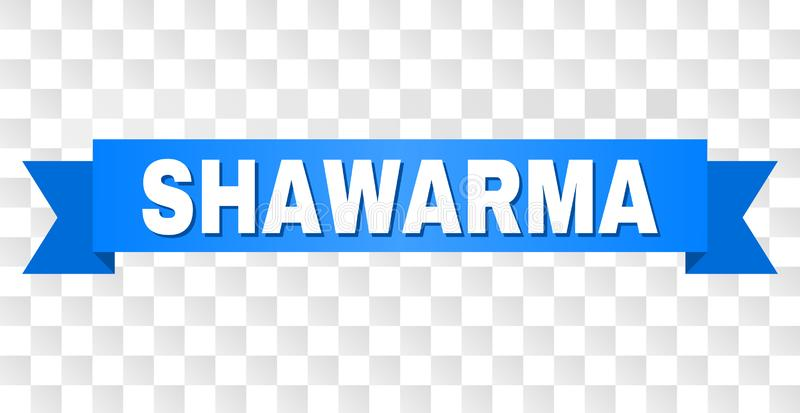 Blue Tape with SHAWARMA Text. SHAWARMA text on a ribbon. Designed with white caption and blue stripe. Vector banner with SHAWARMA tag on a transparent background stock illustration