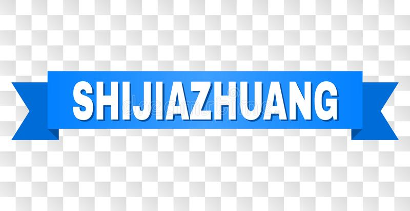 Blue Tape with SHIJIAZHUANG Caption. SHIJIAZHUANG text on a ribbon. Designed with white caption and blue tape. Vector banner with SHIJIAZHUANG tag on a royalty free illustration