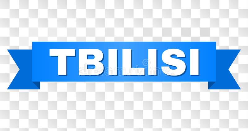 Blue Tape with TBILISI Text. TBILISI text on a ribbon. Designed with white caption and blue tape. Vector banner with TBILISI tag on a transparent background vector illustration