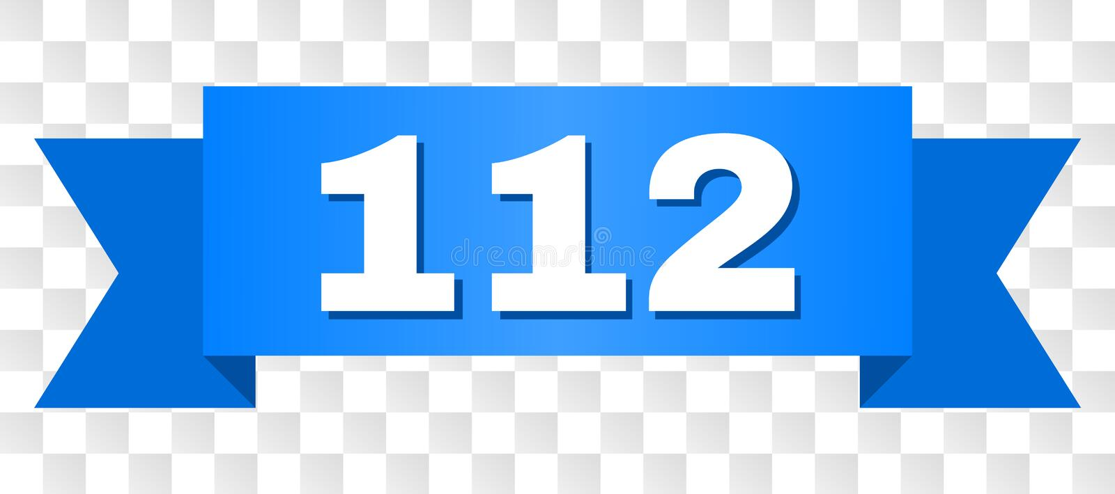 Blue Tape with 112 Text. 112 text on a ribbon. Designed with white caption and blue tape. Vector banner with 112 tag on a transparent background vector illustration