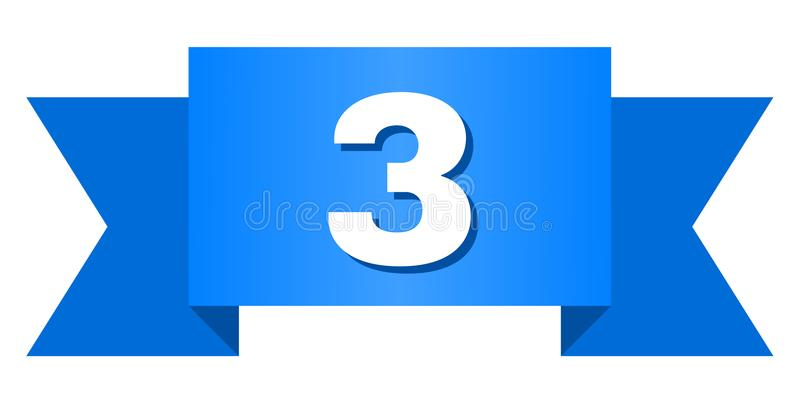 Blue Tape with 3 Title. 3 text on a ribbon. Designed with white caption and blue stripe. Vector banner with 3 tag royalty free illustration
