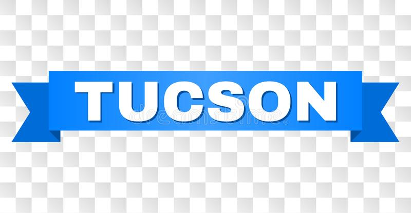 Blue Tape with TUCSON Title. TUCSON text on a ribbon. Designed with white caption and blue tape. Vector banner with TUCSON tag on a transparent background royalty free illustration